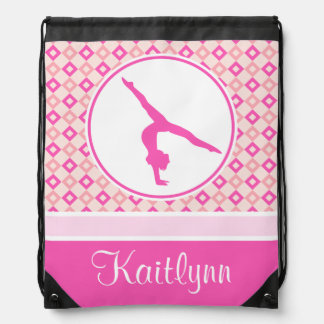 Pink Checkered Diamonds Gymnastics w/ Monogram Drawstring Bag