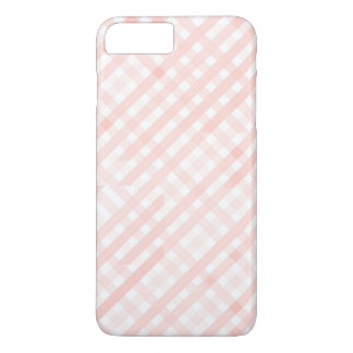 Pink Checkered Line Stripes iPhone 7 PLUS Case