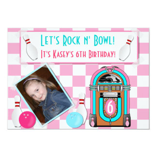 Pink Checkers Rock And Bowl Bowling Birthday Party 13 Cm X 18 Cm Invitation Card