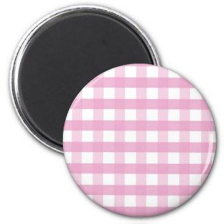 Pink checks 6 cm round magnet