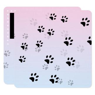 Pink Cheeky Cat Footprints 13 Cm X 13 Cm Square Invitation Card