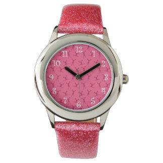 Pink cheerleading pattern wristwatches