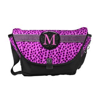 Pink Cheetah Monogram Animal Print Commuter Bags