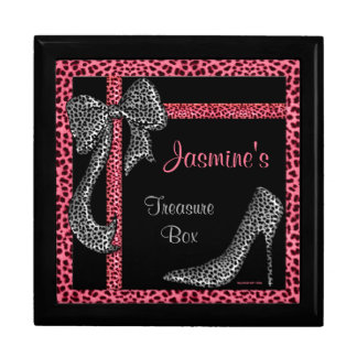 Pink Cheetah Personalized Treasure Chest Gift Box