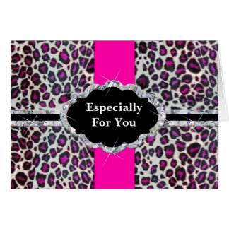 Pink Cheetah Print Diamond Monogram Card