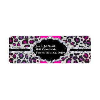 Pink Cheetah Print Diamond Monogram Return Address Label