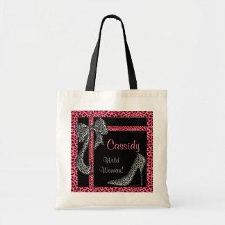 Pink Cheetah Print with Name on Black Tote Bag