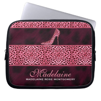 Pink Cheetah Print with Stiletto Heel Laptop Sleeve