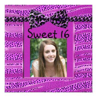 Pink Cheetah Sweet Sixteen Zebra Stripes Card