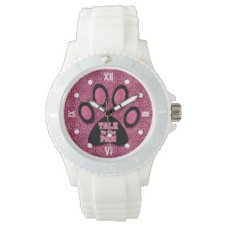 Pink Cheetah Talk to the Paw with Roman Numerals Watch