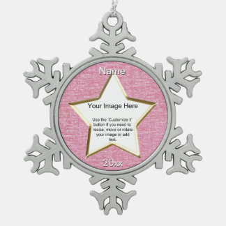 Pink Chenille Star Shape Photo Frame Template Pewter Snowflake Decoration
