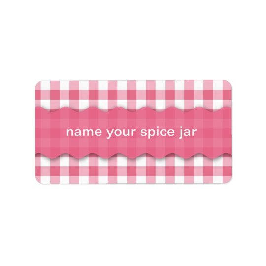 Pink Chequered Design Kitchen Label