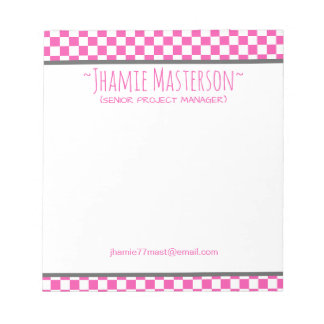 Pink Chequered Notepad