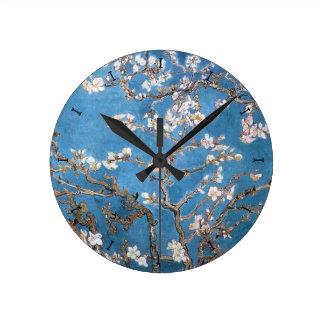 pink cherry Blossom blue wall clock