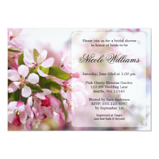 Pink Cherry Blossom Bridal Shower 13 Cm X 18 Cm Invitation Card
