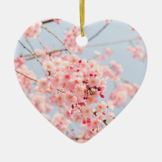 Pink Cherry Blossom Ceramic Ornament
