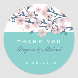 Pink Cherry Blossom Flower Wedding Favor Sticker