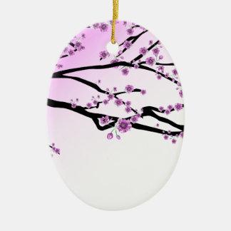 Pink Cherry Blossom Flowers Ceramic Ornament