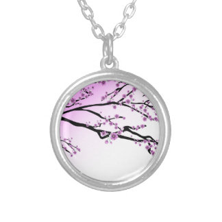 Pink Cherry Blossom Flowers Silver Plated Necklace