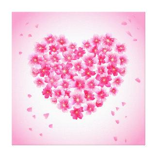 Pink Cherry Blossom Heart Illustration Canvas Print