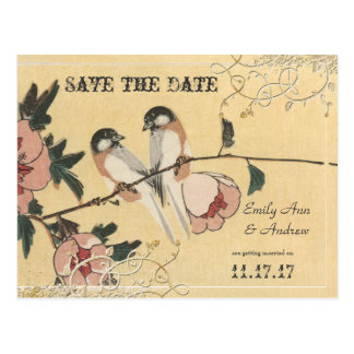 Pink Cherry Blossom Love Birds  Save the Date Postcard