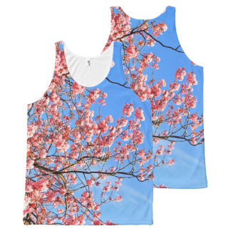 Pink cherry blossom on blue, print all over All-Over print singlet
