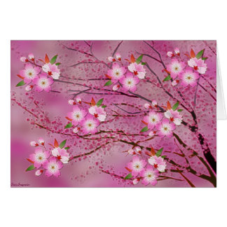 Pink Cherry Blossom Origami Art Note Card