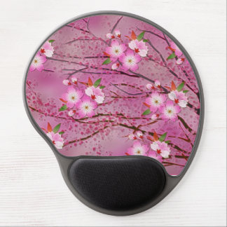 Pink Cherry Blossom Origami Art Gel Mouse Pad