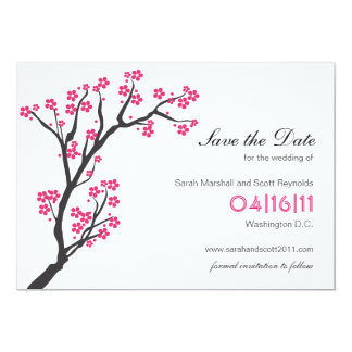 Pink Cherry Blossom Save the Date Card