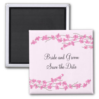 Pink Cherry Blossom Save the Date Square Magnet