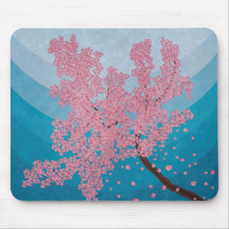 Pink cherry blossom spring illustration mouse pad