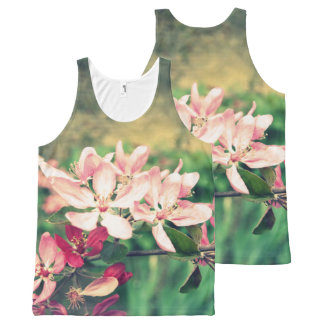 Pink cherry blossom, Spring, print all over All-Over Print Singlet