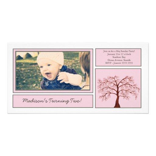 Pink Cherry Blossom Tree Birthday Photo Invite Photo Cards