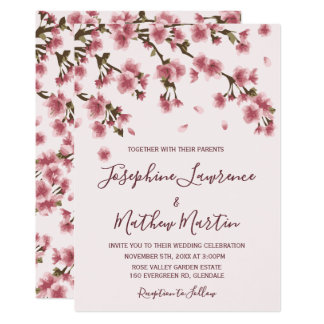 Pink Cherry Blossom Wedding Invitation