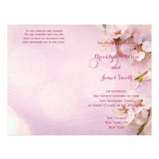 Pink Cherry Blossom Wedding Programs Flyer