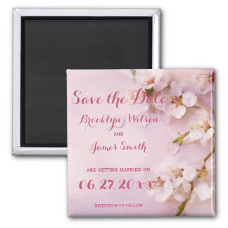 Pink Cherry Blossom Wedding Save The Date Magnets