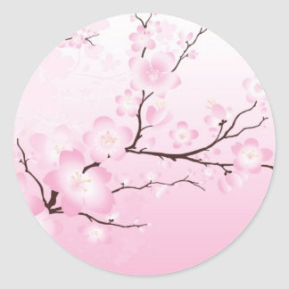 Pink Cherry Blossom Wedding Stickers
