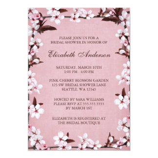 Pink Cherry Blossoms Border Bridal Shower 13 Cm X 18 Cm Invitation Card