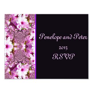 Pink Cherry Blossoms Floral Modern Reception Bride 11 Cm X 14 Cm Invitation Card