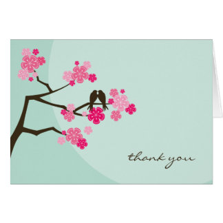 Pink Cherry Blossoms Love Birds Wedding Thank You Card
