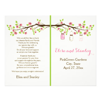 Pink cherry blossoms, mason jars wedding program flyer