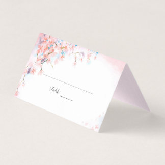 Pink Cherry Blossoms Place Card