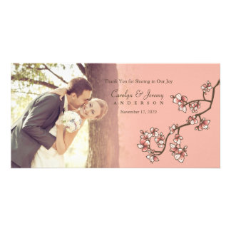 Pink Cherry Blossoms Sakura Wedding Thank You Card Personalised Photo Card