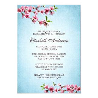 Pink Cherry Blossoms Vintage Blue Bridal Shower 13 Cm X 18 Cm Invitation Card