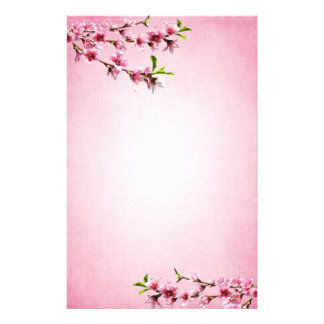 Pink Cherry Blossoms Vintage Pink Stationery