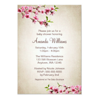 Pink Cherry Blossoms Vintage Tan Baby Shower Card