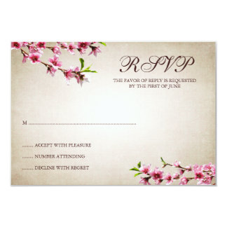 Pink Cherry Blossoms Vintage Tan Response Card