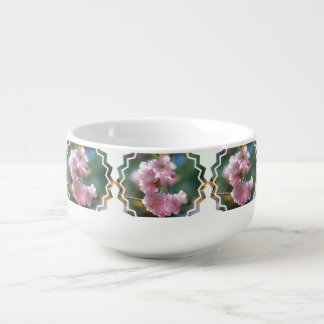 Pink Cherry Blossoms Soup Bowl With Handle