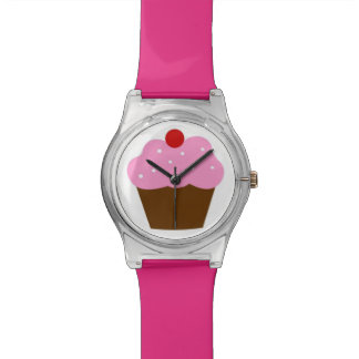 Pink Cherry Chocolate Frosted Cupcake Watch
