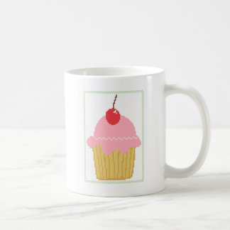 pink cherry cupcake basic white mug
